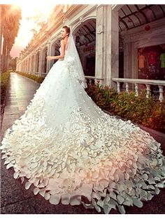 $ 615.99 Gorgeous A-line Floor-Length Cathedral Flower Beading\ Wedding Dress