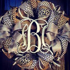 Burlap wreath // 3 letter monogram // Silver // Leopard // Black // White // Chevron on Etsy, $125.00