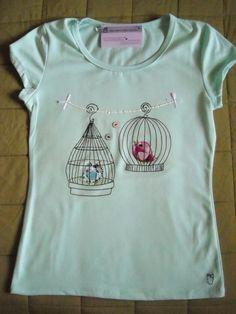 """Camiseta vintage """"Love in birds"""" / EL ARMARIO DE PULGUITA - Artesanio"""