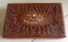 Interesting Vintage Wood Box. Ornate Carving and by VintageUKSouth