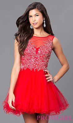 Scoop Neck Open Back Homecoming Dress at PromGirl.com