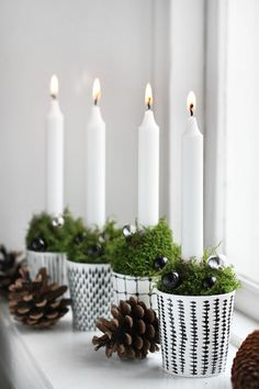 Simple Christmas Decorating - Decorating with Green - White Candles in Cups with Moss