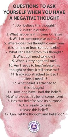 Questions to Ask Yourself When You Have a Negative Thought - These are some questions I use when doing belief work or when a thought bothers me. I use self kinesiology in conjunction to access my subconscious for answers. I've cleared many beliefs using this method.