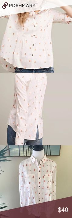 """<Maeve> Anthro Miette Buttondown Teepee Print Top Anthropologie Maeve """"Miette"""" Buttondown top. Cotton.  Embroidered teepee print detail Front pockets Button front. Size 6. Length 25"""".  Machine wash. Excellent condition. No trades please! Anthropologie Tops Button Down Shirts"""