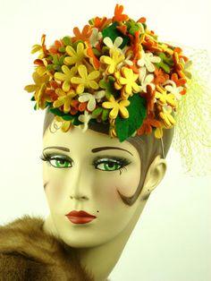 VINTAGE HAT, BEAUTIFUL FLOWERS PILLBOX HAT IN ORANGE & LEMON w LEAVES, STUNNING!
