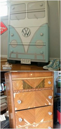 Paint a dresser to look like a bus.
