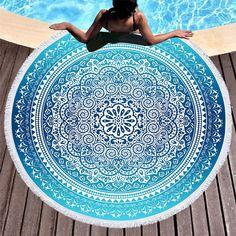 6ff60569a8 BeddingOutlet Telo da Spiaggia Rotondo Boemo Blu Cielo Nappa Mandala -  Coperta Boho Tappetino da Yoga