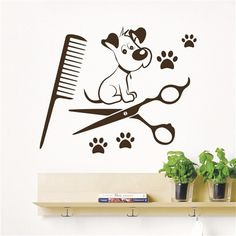 Items similar to Dog Wall Decal Pets Grooming Salon Decals Vinyl Sticker Dog Puppy Pet Shop Animal Decor Kids Nursery Baby Room Wall Art Interior Design on Etsy Dog Grooming Shop, Dog Grooming Salons, Dog Grooming Business, Nursery Wall Stickers, Wall Decor Stickers, Wall Decals, Sticker Vinyl, Dog Spa, Decoration Stickers