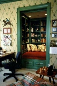 Convert the closet in a spare room into a reading nook! Almost as awesome as a study with floor to ceiling bookshelves. - A Interior Design Traditional Family Rooms, House Interior, Home Library, Home, Interior, Family Room, Reading Nook, Home Decor, Room