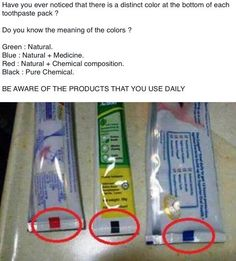 FALSE.... used for packing procedures. Snopes: http://www.snopes.com/inboxer/household/toothpastemarkings.asp