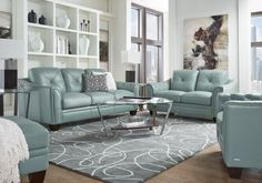 Shop for a Cindy Crawford Home Eden Place Seafoam Leather 5 Pc ...