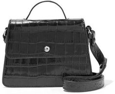 Elizabeth and James - Eloise Mini Croc-effect Leather Shoulder Bag - Black
