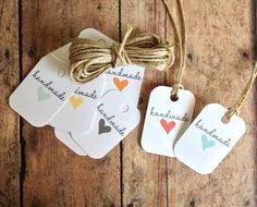 Handmade with love tags - gift tags - handmade - heart tags - packaging supplies -. $10.00, via Etsy.