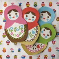 Matryoshka Iron On Applique Patch by lilredbuttonboutique on Etsy Nesting Doll Tattoo, Origami, Matryoshka Doll, Kokeshi Dolls, Paper Crafts, Diy Crafts, Iron On Applique, Paper Tags, Winter Theme