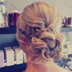 Wedding Hairstyles Ideas : low bun relaxed hair up braids wedding hairstyles – Deer Pearl Flowers / www. Relaxed Hair, Hair Up Braid, Hair Plaits, Bridal Hair And Makeup, Hair Makeup, Makeup Salon, Makeup Studio, Dress Makeup, Prom Makeup