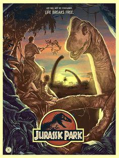 Jurassic Park from artist Nicolas Barbera - Print Poster Wall Decor - Movie Poster Foto Poster, Poster Print, Movie Poster Art, Poster Wall, Jurassic Park Film, Jurassic Park World, Jurassic World Movie Poster, Jurrassic Park, Park Art