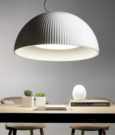 White Ribbed Detailing Colour Changing LED Dome Pendant with Diffuser
