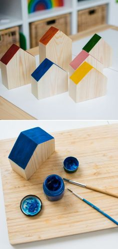 DIY Gifts for Kids: Simple Wooden Toy Projects - Inspire my Play : Gifts for kids- wooden toy houses Save money and make DIY gifts for the kids this year! These wooden toy projects are simple to achieve but make great gifts for little ones. Wooden Toy Barn, Wooden Toy Trucks, Wooden Toy Boxes, Wooden Diy, Wooden Gifts, Wooden Houses, Painted Houses, Handmade Wooden Toys, Wooden Decor