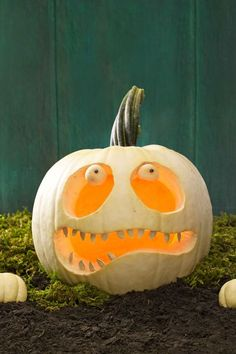 Materials • Large round white pumpkin• Craft knife• Spoon• Washable marker• Damp…