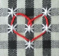 heart 01/13/16 JS Embroidery Hearts, Hand Embroidery Stitches, Cross Stitch Embroidery, Embroidery Designs, Chicken Scratch Patterns, Chicken Scratch Embroidery, Swedish Weaving, Cross Stitch Heart, Ribbon Work