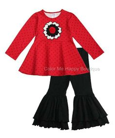 326913b4fc New Girls Boutique Peaches n Cream sz 6 Red Black Flower Christmas Dress  outfit