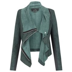 Lederjacke für den Sommertyp Muubaa Alexis Drape Suede Jacket in Cyan Pastel Outfit, Looks Style, Style Me, Fashion Moda, Womens Fashion, Outfit Trends, Mode Style, Look Cool, Pulls
