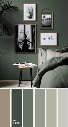 Small Bedroom Colours, Bedroom Wall Colors, Bedroom Color Schemes, Bedroom Green, Room Ideas Bedroom, Small Room Bedroom, Home Decor Bedroom, Green Rooms, Small Rooms