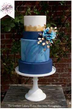 Beautiful modern blue marbled cake with gold leaf and fantasy flower. Cake: The Confetti Cakery Photo: Alex Vass Photography