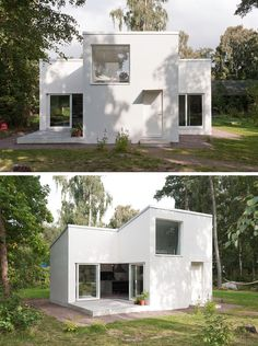 11 Small Modern House Designs // The Bright White Color Of This Small  Summer House
