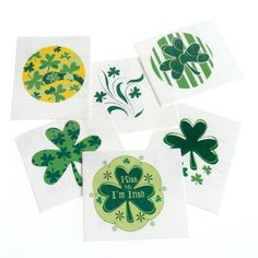 """Shamrock Tattoos by US Toy Company. $8.38. 144 Pieces. Get your green on for St. Pat's Day with these temporary tattoos.  Rub on the shamrock tattoos with water and easily wipe off.  Assorted styles.  Size 1 1/4 Sq.    U.S. Toy Exclusive!"""""""