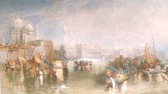 "J. W. M. Turner ""St. Marks Basilica Venice"" Rare Colored Mezzo tint"