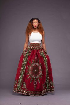 Beautiful Red African Print Maxi ~African fashion, Ankara, kitenge, African women dresses, African prints, African men's fashion, Nigerian style, Ghanaian fashion ~DKK