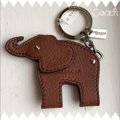 Authentic Coach Elephant Keychain~NWT~Key~ Authentic Coach Elephant Keychain~NWT~Key Ring Fob~Brown Leather Motif~Smoke Free Home~ Coach Accessories Key & Card Holders