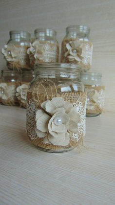 130 cheap and easy homemade wine glasses christmas candle holders – page 44 Burlap Centerpieces, Wedding Centerpieces Mason Jars, Wedding Decorations, Quinceanera Centerpieces, Burlap Mason Jars, Mason Jar Crafts, Bottle Crafts, Wedding Jars, Rustic Wedding