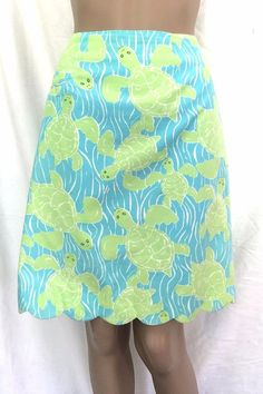 Lilly Pulitzer 100% Cotton Blue and Green Turtles A-Line Skirt - Size 4 - EUC #lillypulitzer #ALine