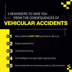 5 Reminders to Save You from the Consequences of Vehicular Accidents First Aid Poster, Insurance Benefits, Drunk Driving, Car Insurance, Peace Of Mind, Save Yourself, How To Plan