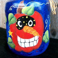 Three Festive Pumpkins - Colorful Handpainted Vintage Style Pumpkins Halloween Decor. $18.00, via Etsy.