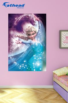 Princess Bedroom Decor   Nursery wall mural in baby friendly color schemes help to make your new babies' walls pop with colorful shapes. Make your new baby's room magical!  SHOP Disney wall murals at http://www.fathead.com/disney/frozen/elsa-winter-magic-frozen-movie-poster-wall-mural   Home Decor On A Budget   Disney DIY Girls Bedroom Decor   New Baby Ideas   Playroom Peel + Stick Wall Murals   Frozen Bedroom   Fathead Wall Decals