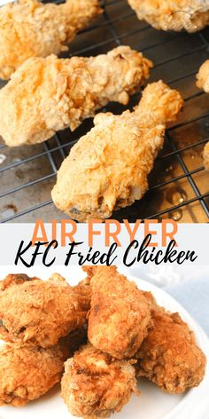 A deliciously moist copycat KFC Chicken recipe. This Air Fryer fried chicken is golden brown delicious. Soaked in buttermilk for delicious Southern flavor. Recipe For Kentucky Fried Chicken, Kfc Fried Chicken Recipe, Air Fryer Fried Chicken, Air Fried Food, Buttermilk Fried Chicken, Oven Fried Chicken, Air Fry Chicken, Honey Chicken, Chicken Gravy