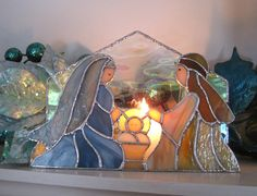 Nativity Stained Glass Tea Light or Votive Candle by hobbymakers