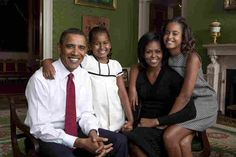 President Barack Obama, First Lady Michelle Obama, and their daughters, Malia and Sasha, in the Green Room of the White House, September 1, 2009. Photograph by Annie Leibovitz.