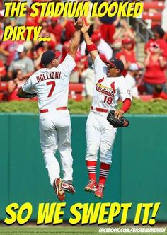 LOUIS, MO - JULY Jon Jay and Matt Holliday both of the St. Louis Cardinals celebrate after beating the Miami Marlins at Busch Stadium on July 2013 in St. The Cardinals beat the Marlins (Photo by Dilip Vishwanat/Getty Images) St Louis Baseball, St Louis Cardinals Baseball, Stl Cardinals, Baseball 2016, Cardinals Players, Mlb Nationals, Better Baseball, Baseball Stuff, Miami Marlins