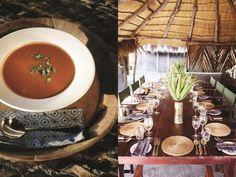 Summer soup at Camp Kalahari, Botswana www.luxurysafaricamps.com Safari, Table Settings, Table Decorations, Dining, Veggies, Soup, Furniture, Summer, Home Decor