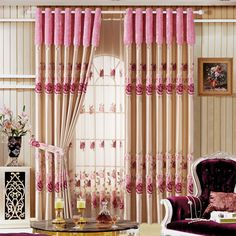 Luxury window curtain - Pink Flower $140  (60% off)