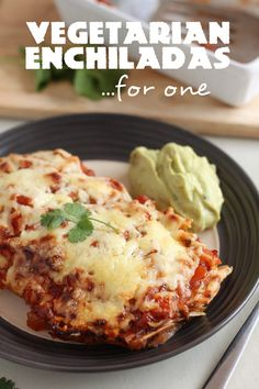 One perfect portion of veggie enchiladas that only take 10 minutes to prepare - enchiladas don't have to be only for a crowd!