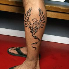 Awesome Lower Leg Mens Tribal Phoenix Tattoos