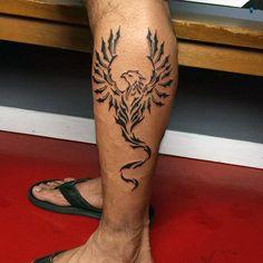 Awesome Lower Leg Mens Tribal Phoenix Tattoos