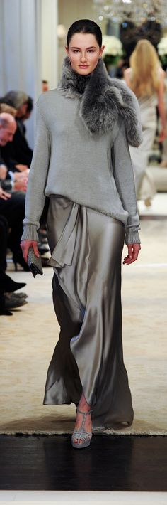 Ralph Lauren Pre-Fall 2014 RTW - grey knitted pullover with silk maxi skirt