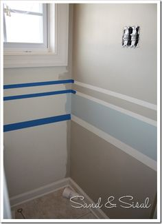 How to paint stripes . loves this look - baby room decoration- Wie man Streifen malt … liebt diesen Look – Baby Zimmer Deko How to paint stripes … loves this look - Paint Stripes, Painting Stripes On Walls, Wall Stripes, Painting Walls, Painting Tips, Striped Walls, Striped Bathroom Walls, Room Paint Colors, Boy Room Color Scheme