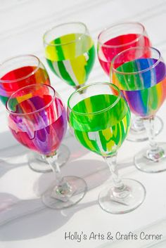 Hollys Arts and Crafts Corner: Craft Project: Pour Paint Wine Glasses